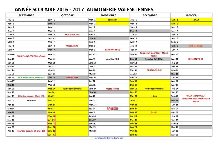 Calendrier rencontres ol